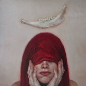 """Red Self Portrait"" Oil on board"