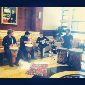 Hand drum jam session during diversity week at FHSU