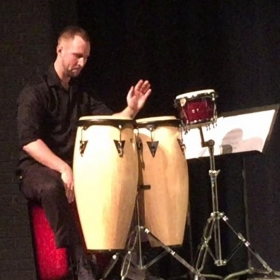 Groovin' on one of the multiple percussion pieces I did on my Grad Recital in May 2017