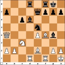 Versus NM Edward Epp. Black's minor pieces are intricately dependent on each other for defense. How can White exploit this setup?