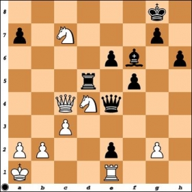 Versus Expert James Lung. White is up a piece for 2 pawns and threatens to collapse Black's position. Does Black have a way out?