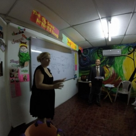 Visiting a local language center in El Salvador during my pregnancy.