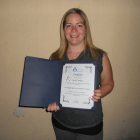 Receiving my TEFL diploma.