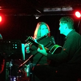 Playing with the house band at Cafe Nine in New Haven.