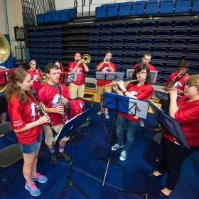 Playing piccolo (far right) with the AU Screamin' Eagles Pep Band.