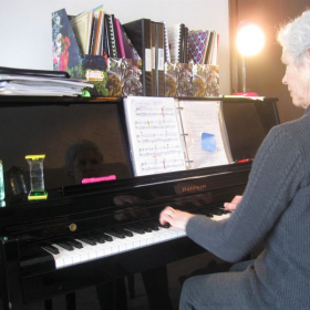 This dedicated senior student of mine learned to play so much in three years.  It is never too late to learn!