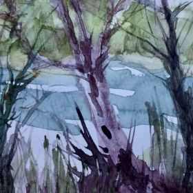 A watercolor painting by Jane mainly from a stick and a plastic card. Very little was done with a paintbrush. Really!