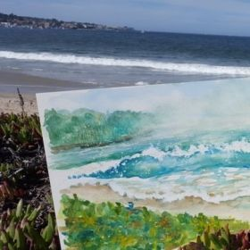 """Painting of the beach at Monterey Bay, CA. Watch Jane paint this on her videos on YouTube at """"WatchingPaintDryLLC."""""""