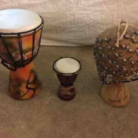 Some of my hand drums and instruments, which I provide for use in my lessons.
