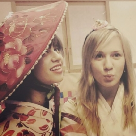 Here I am with my best friend dressed in traditional Korean clothing, known as hanbok (한복) in Seoul, South Korea.