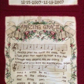 A cross-stitch/crochet project I made back in 2007 for one of my pastors whose child died shortly after birth.