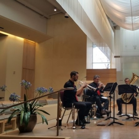 Performing with pro brass quintet, BRASSY!