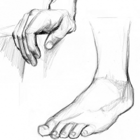 "Pencil figure study. Most critiques end up saying ""Do a lot of figure drawing and work on hands and feet!"""