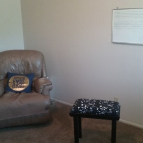 Recliner, White board, and my new piano bench!