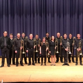 The Ohio University Trombone Choir before our performance at the 2017 American Trombone Workshop
