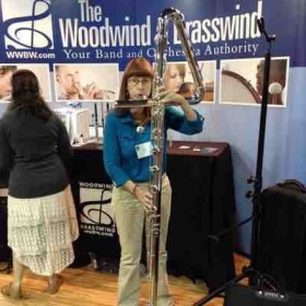 Play testing a contrabass flute at the National Flute Association annual convention
