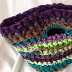 crocheted fabric basket