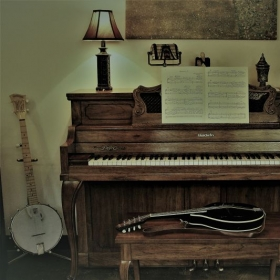 My home studio in Atlanta, GA.  Guitar and banjo not shown.