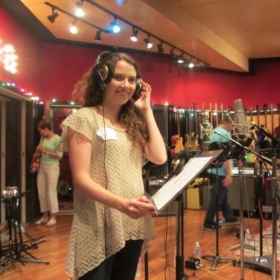 Recording at the studio after winning national vocal competition (2015)