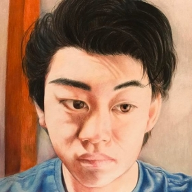 Colored pencil portrait made with Verithin pencils