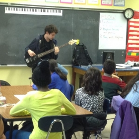 Cole teaching a middle school class