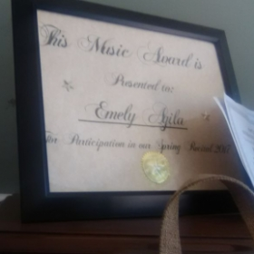 Award from recital.