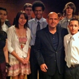 Taking a group picture with the Dallas Symphony Conductor - Jaap Van Zweden