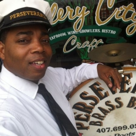Performing with The Perseverance Brass Band