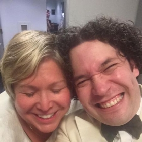 Me and Gustavo Dudamel backstage after a performance at Hollywood Bowl