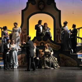 Photo from The Merry Widow. Ally is on the right, on the stairs.