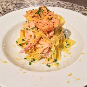 Tagliatelle with Salmon belly, crema Mexicana, dill, chives, lemon.