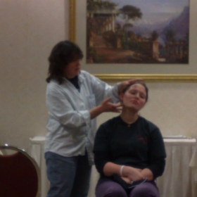 Doing a Stage Makeup Demo at a student theater conference. I can teach you Theatrical Makeup too!