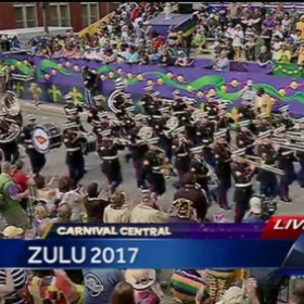 The Marine Band performing in the Zulu Mardi Gras Parade.