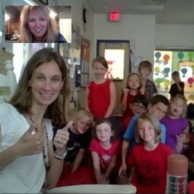 Skyping with a classroom and teaching the students all about how fun science can be!