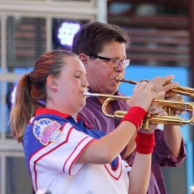 Playing a duet with Wayne Bergeron during my summer as a member of the All-American College Band // August 2016