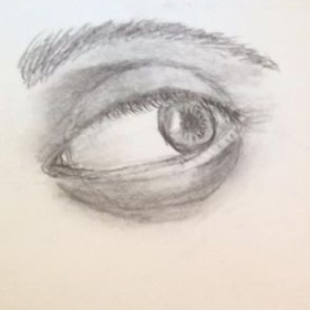 Adult Student work focusing on shading of the eye.