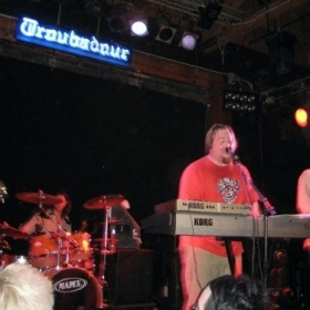 Playing keyboards and singing with my band The Leisurelies at The Troubadour.