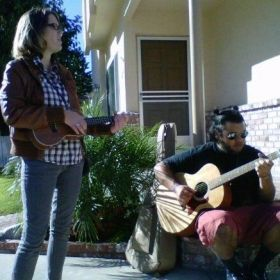 Jamming with a fellow musician in LA