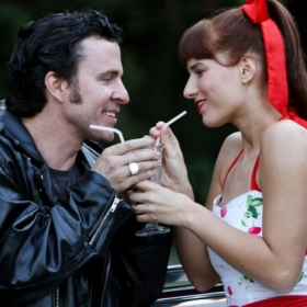 Proteus (J. Marr) and Julia (Angelica Duncan-Basile) in Two Gentlemen of Verona with Wooden O, Seattle WA