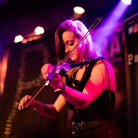 "Image of me playing electric violin at Fitzgerald's in the band ""Passerbye"" a few months ago."