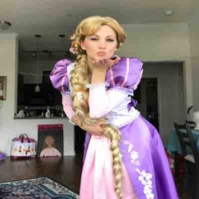 Playing the role of Repunzel at Dallas Party Princess Productions!