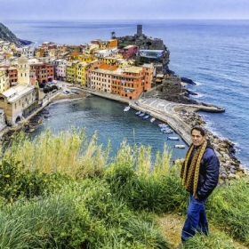 Cinque Terre, Italy. This is a self portrait in one of the five islands, Vernazza, of Cinque Terre.