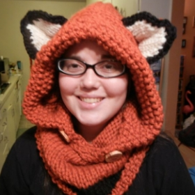 An example of my knit work. This is an easy knit cowl/hood.