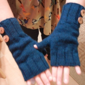 Fingerless mitts- an easy pattern of my own design, appropriate for advanced beginners.