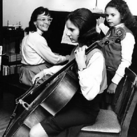 My Mother Ruth at the piano, sister Monica cello, little Lisa page turner. Yes, I read music well enough to be my mother's page turner!
