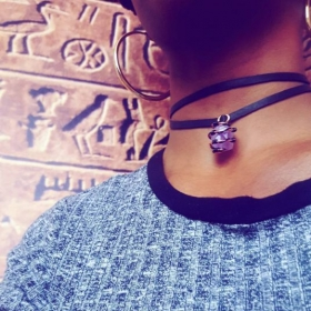 organically- crafted Brazilian amethyst, copper and leather choker. Had so much fun designing and creating this!