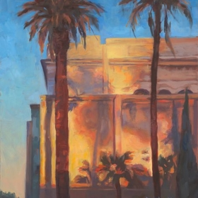 "Balboa Park Natural History Museum.  11 x 14"" oil on board."