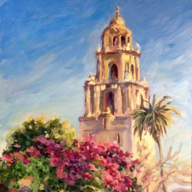 "Museum of Man Tower at Balboa Park.  11 x 14"" oil on board."