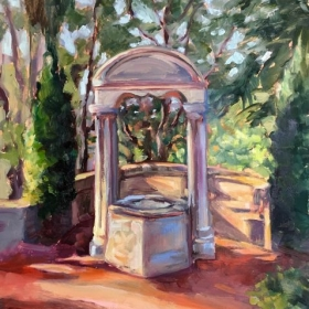 "Wishing Well at the Prado.  8 x 10"" oil on board."