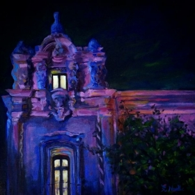 "The Prado at Night.  12 x 12"" oil on board."